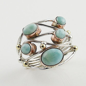 Larimar Sterling Silver Three Tone Collage Ring