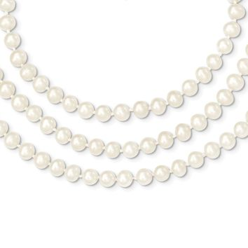 14k Yellow Gold 6-6.5mm 3 Strand Cultured Pearl Necklace