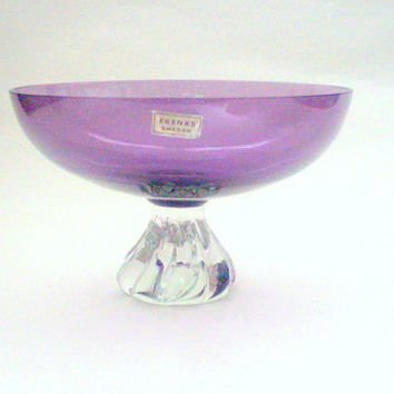 Swedish vintage glass bowl, Ekenäs glassworks, Mid century, Amethyst colored glass