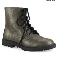 Aeropostale  Shimmer Combat Boot - Silver, 6