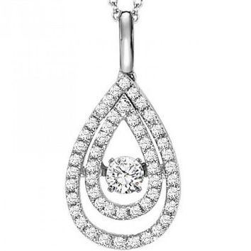 14K Rhythm of Love Pear Shaped Double Halo Diamond Necklace