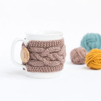 Cup Cozy in Milky Brown, Knitted Mug Cozy, Coffee Cozy, Tea Cup Cozy, Handmade Wooden Button, Coffee Cozy Sleeve, Warmer, Fall, Autumn, Gift