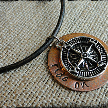 Ride On Mens Leather Compass Charm and Copper Disc Necklace