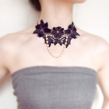 lace choker necklace - black flower floral bib - steampunk pearl beaded gold - gothic choker