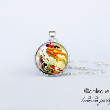 Koi Fish Pendant Handmade Asian Art Necklace Japanese Jewelry Birthday Gift Round Glass Carp Pendant cs151