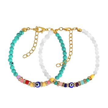 Evil Eye Protection Love Couples Amulets Set Simuled Turquoise White Colorful Crystals Bracelets
