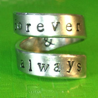 Taylor Swift Inspired - Forever & Always - Adjustable Twist  Wrap Aluminum Ring - Handed Stamped