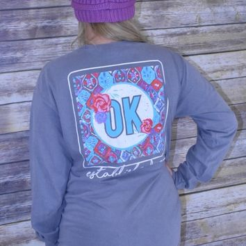 OK Boho & Roses Oklahoma Calamity Jane women's Charcoal comfort colors long sleeve t-shirt