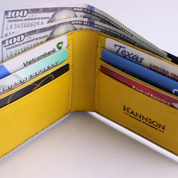 Hand Stitched and Dyed Black/Yellow Men's Leather Wallet Duo Colors - Full grain Veg-Tan - For Men