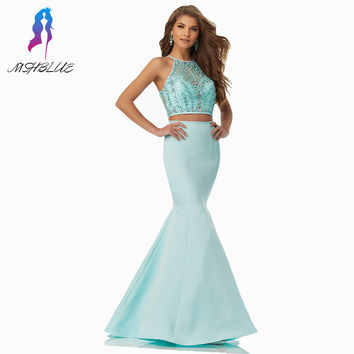 Mint Two Pieces Mermaid Prom Dresses Long Evening Gown Halter Satin Crystals Beaded Zipper Back Women Dress