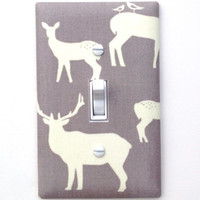 Elk Deer Light Switch Plate Cover / Baby Boy Girl Gender Neutral Nursery Decor / Elk Family Mod Basics 2 / Birch Organic Fabric Shroom
