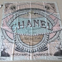 NWT Authentic Chanel Green Pink Habana Coco Cuba Runway Logo Square Silk Scarf