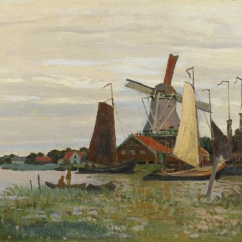 Claude Monet Painting  Impressionist Windmill At Zaandam Landscape Photo to Canvas Oil Painting Wall Art Decoration Suppliers