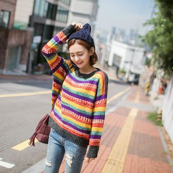 Autumn Rainbow Stripe Patchwork Pullover Knitted Sweater Fashion Women's Clothing Lovely Loose Jumper Jacket Coat