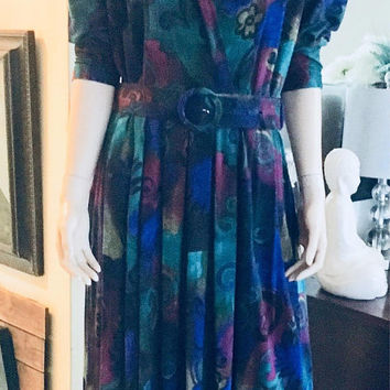 Vintage ALGO 1980's Midi Belted Dress, Floral, Full Skirt, XL, Size 14, Antique Alchemy