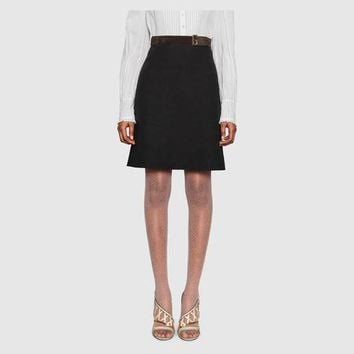 Gucci Linen canvas belted skirt