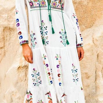Fashion Boho Retro Ethnic Multicolor Flower Embroidery Long Sleeve Drawstring Maxi Dress