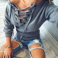 ♡ Flare sleeve knitted sweater Casual loose knitwear ♡