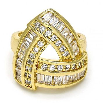 Gold Layered Mult-stone Ring, with Cubic Zirconia and Micro Pave, Gold Tone