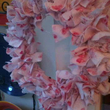 Small Pink Tattered Fabric Rag Wreath