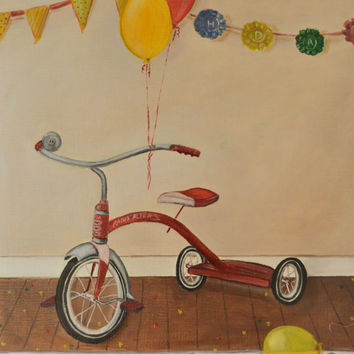 """Still Life Painting, original oil painting, Puppy Dog Tails- 12"""" x 16"""" , Canvas Paper, Radio Flyer, Bike Painting, Red, Kids Room Painting"""