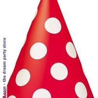 Ruby Red with White Polka Dots Cone Hats - Red - One size