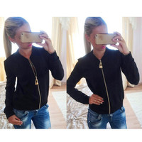 Hot Sale Slim Women's Round-neck Stylish Jacket [6338692676]