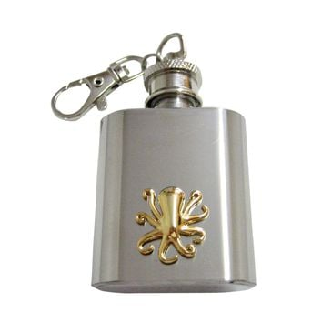 Gold Toned Octopus 1 Oz. Stainless Steel Key Chain Flask