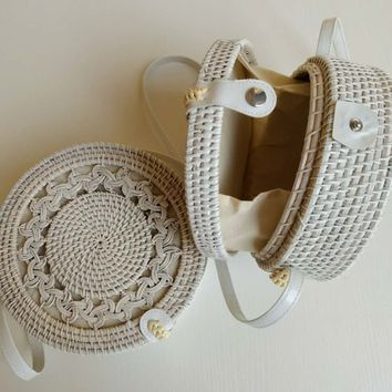 White Wicker Charm Embellished Crochet Detail Pattern Handbag