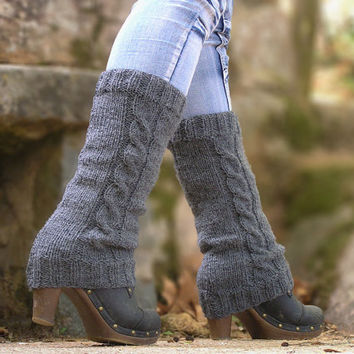 LEG WARMERS KNIT Grey Acrylic Braided Hand Knitted by NATgirona