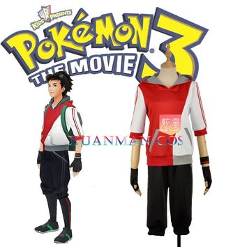 Mobile Game  Go Red Cosplay Costume Trainer Uniform Custom Made Half Sleeve Tops Shorts Sportswear Full Set W1098Kawaii Pokemon go  AT_89_9