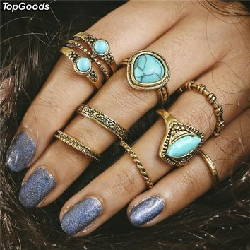 TopGoods 8 pcs/set Charm Golden Color Midi Finger Ring Set for Women Vintage Boho Knuckle Party Rings Punk Jewelry Gift for Girl