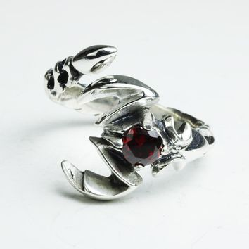 Solid 925 Sterling Silver Jewelry Mens Ring With Garnet Natural Stone Scorpion Male Openning Ring