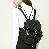 Faux Leather Zip Backpack
