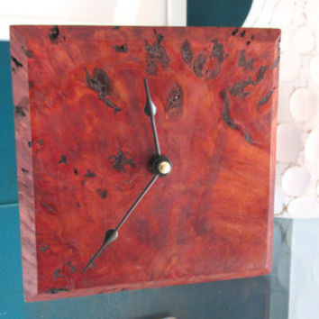 Exotic Desk Clock made with Red Box Burl from Australia | Table Clock | Wood Clock | Minimalist Clock