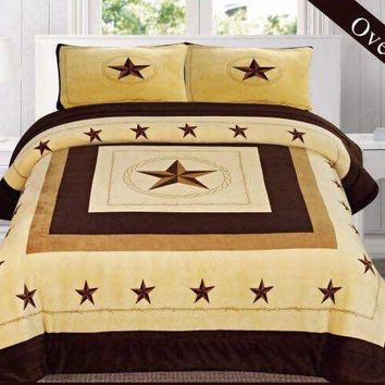 Western Beige Star Barbed Wire Design Borrego Fleece Comforter Style - 3 Piece Set