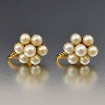 Fine Art Deco 14K Gold Pearl Cluster Earrings Wedding