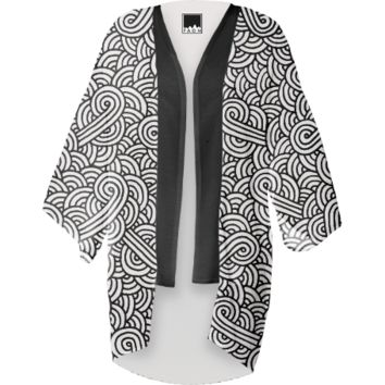 Black and white swirls doodles Kimono