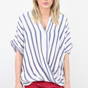Vertical Striped Twisted Hem Button Down {Denim}