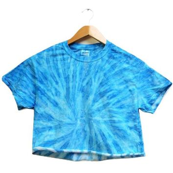 NEON COLLECTION: Sapphire Tie-Dye Cropped Tee