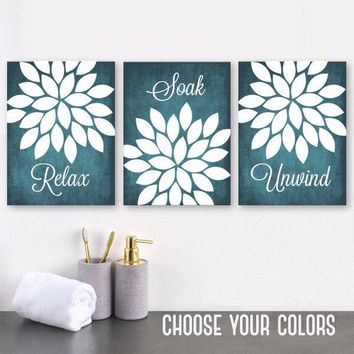 Flower Teal BATHROOM Wall Art, Teal Bathroom Canvas or Prints, Relax Soak Unwind Quote, Flower Bathroom Decor, Bathroom Pictures, Set of 3