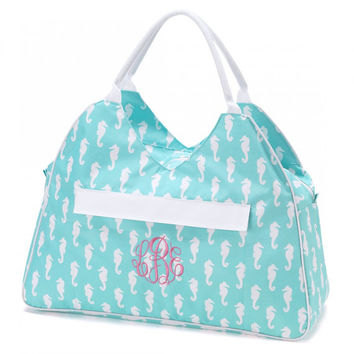 Large Beach Bag Tote Aqua Seahorses Nautical Monogrammed Personalized Pool