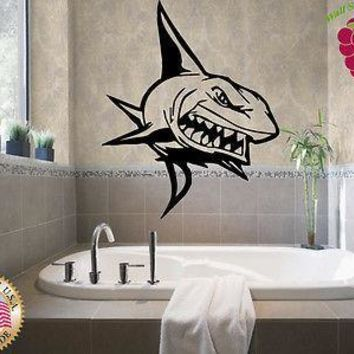 Wall Stickers Vinyl Decal Killer Shark Big Teeth Ocean Marine Predator  Unique Gift em218