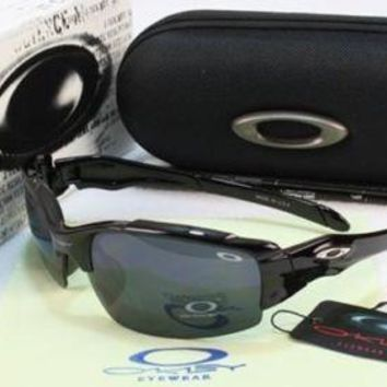 Eye-Protection Partner Mens Oakley Sunglasses Shiny Black Frame Black Lens 80%!