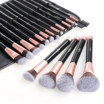DCCKV2S Anjou Makeup Brush Set, 16pcs Premium Cosmetic Brushes for Foundation Blending Blush Concealer Eye Shadow, Cruelty-Free Synthetic Fiber Bristles, PU Leather Roll Clutch Included, Rose Golden