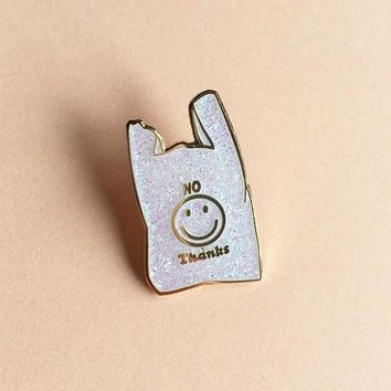 No Thanks Plastic Bag Enamel Pin Badge Lapel Pin White Glitter & Gold Smiley Face Hard Enamel Pingame