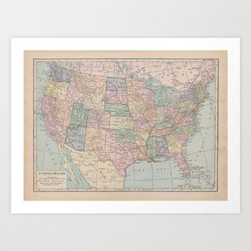 Vintage Map of the United States Art Print by Color And Form