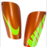 Nike Mercurial Lite Shin Guards - Orange with Volt - SoccerPro.com