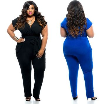 Summer selling solid color jumpsuit sexy plus size V-neck ladies
