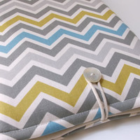 Laptop Bag, Macbook Bag,  MacBook Pro 13 Case, Citron Grey Chevron, Laptop Sleeve, Zig Zag, Padded Cover